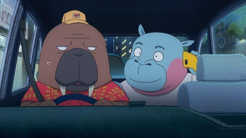 """Кадр из аниме """"Случайное такси"""""""